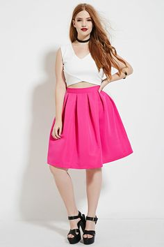 Forever 21+ - A woven skirt complete with allover pleating and an invisible back zipper.