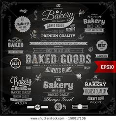 Set of vintage chalkboard bakery logo badges and labels for retro design by Ozerina Anna, via Shutterstock