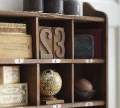 Cubby Organizer | Pottery Barn   Close up....I want the globe pencil holder...!!
