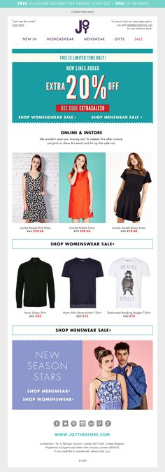 476dd1bf Coupon code offering 20% extra off sale items and product recommendations  from Joy. #