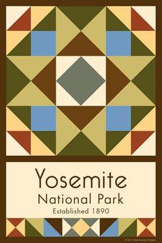 Olde America Antiques | Quilt Blocks | National Parks | Bozeman Montana : Yosemite National Park - Yosemite National Park Quilt Block