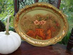 Vintage Hand Painted Oval Green and Gold by EmmasHeritage on Etsy