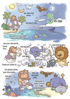 creation day by kokecit on DeviantArt Bible Crafts, Bible Art, Bible Verses, Verses For Kids, Bible For Kids, Christian Art, Christian Quotes, Christian Cartoons, Jesus Cartoon
