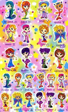 3c57be167ac04e Lisa Frank Sticker Sheet Astrological Signs Zodiac by ashstudios Lisa Frank  Stickers