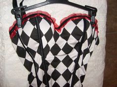 DC COMIC SEXY HARLEY QUINN PUSH-UP BUSTIER CORSET COSPLAY MEDIUM W/ PANTIES #SPENCERS #HookEye