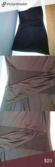 One shoulder little black mini dress LBD Black stretch mini One shoulder Sheer cut outs at waist Arden B Dresses One Shoulder