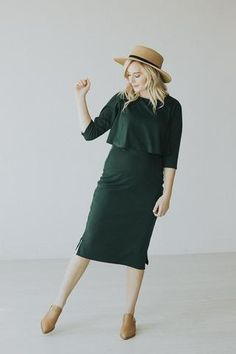 Paige Avenue: The Alpine Dress in Forest - Nursing Friendly