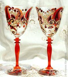 Роспись винных бокалов. Витраж