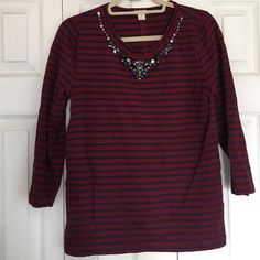 J.Crew beaded neck 3/4 sleeve cotton shirt Size medium maroon and navy striped J.Crew cotton shirt. 3/4 sleeves with beautiful beaded neck detail that is so J.Crew. No beads are missing or loose. Wore only one time for pictures! J. Crew Tops Tees - Long Sleeve
