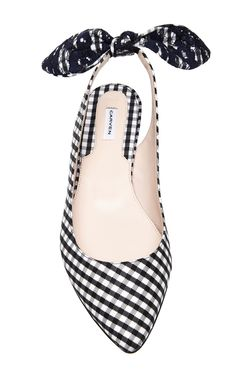 Embroidered Bow-Detail Gingham Flats by Carven - Moda Operandi