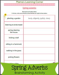 Free Spring Adverbs Worksheet