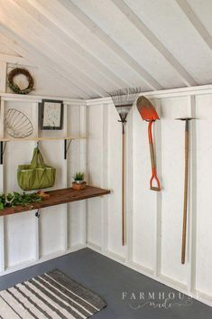 A she shed makeover that is truly amazing! This shed began as dark and dusty and is now functional light bright airy and rich in utility storage! Pool Shed, Backyard Sheds, Outdoor Sheds, Backyard Storage, Backyard Barn, Backyard Seating, Backyard Play, Outdoor Spaces, Outdoor Living
