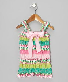 This Green & Pink Zigzag Ruffle Romper - Infant & Toddler by Tutus by Tutu AND Lulu is perfect! #zulilyfinds