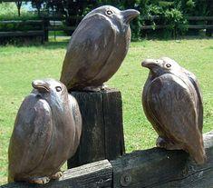 """Ursula Keusgen: Three Garden Sculptures """"Ravens"""" in a Set - ars mundi - Modern Design Clay Birds, Ceramic Birds, Ceramic Animals, Ceramic Art, Sculptures Céramiques, Book Sculpture, Pottery Sculpture, Garden Sculptures, Wood Bird"""