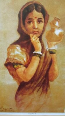 This is an unframed print of his famous art work on glossy art paper, making it affordable to have a world renowned artist's collection. Size:19.2 H x 12.6W Raja Ravi Varma was an Indian painter from the princely state of Travancore (presently Kerala, India) who achieved recognition for his depiction of scenes from the epics of the Mahabharata & Ramayana which are considered to be among the best examples of the fusion of Indian traditions with the techniques of Euro