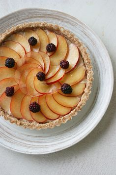 raw plum tart