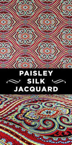 Red Ornate Paisley Silk Jacquard