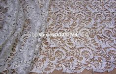 Free Shipping! Beautiful pure white elegant Polyester hollow embroidery guipure lace fabric / Cupion lace for wedding TS850
