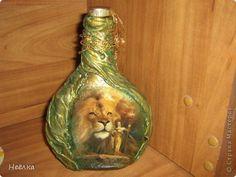 МК: Декорирование бутылки тканью декупаж