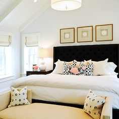 Opal Design Group - bedrooms - pillows, vaulted, ceiling, pale, blue, walls, black, wingback, headboard, bed, nailhead trim, white, double gourd, lamp, white, roman shades, sand, ribbon, trim, sand, linen, bench, tufted wingback headboard, black tufted wingback headboard, tufted headboard, black tufted headboard, wingback headboard, black wingback headboard, , Jonathan Adler Meurice Pendant, Kelly Wearstler Imperial Trellis Midnight/Parchment, Caitlin Wilson Textiles Navy Fleur Chinoise…