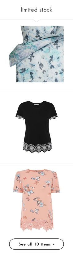 """limited stock"" by zaiee on Polyvore featuring tops, t-shirts, scallop t shirt, scallop hem top, cotton t shirts, pattern tees, print t shirts, red lace top, flower print top and lace tee"
