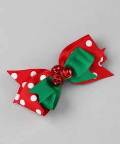 Take a look at this Red Polka Dot Jingle Bell Bow Clip by Bearington Bear Co on #zulily today!