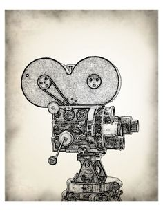 The Vintage Movie Camera in Black and White - graphic illustration design
