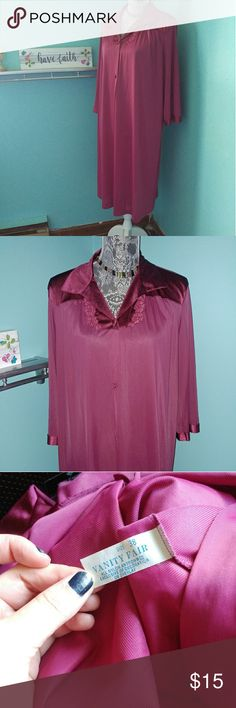 Vintage Satiny Robe Vintage Vanity Fair button down robe. Satiny material. Like new condition.  Size 38 or large / XL.  😺 kitty friendly home Vanity Fair Intimates & Sleepwear Robes