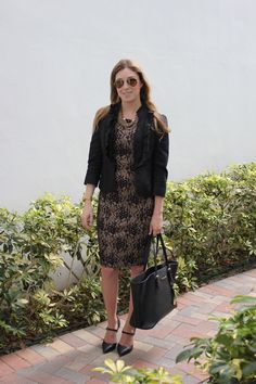Day to Night, black lace dress, mary jane pumps