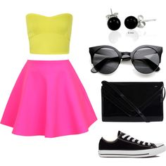 neon n' black by bibkaro on Polyvore featuring polyvore fashion style Miss Selfridge UNIF Converse Pieces Bling Jewelry