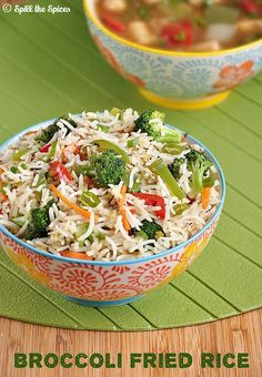 Spill the Spices: Broccoli Fried Rice Indo Chinese Recipes, Indian Food Recipes, Ethnic Recipes, Rice Recipes, Vegetarian Recipes, Cooking Recipes, Broccoli Fried Rice, Bengali Food, Biryani Recipe