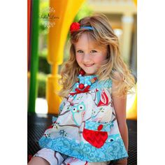 Sunny Days Nested Owls Summer Swing Top and Shorts Girls Sewing Kit AllegroFabrics Sizes 2- 10