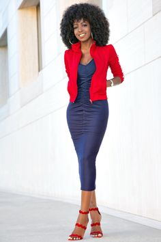 Style Pantry | Track Jacket + Ruched Midi Dress