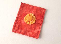 Mini Purse or Cosmetic Bag Hand Made Orange Tie Dye by 2Fun4Words