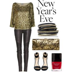 Sequins and leather for New Year's Eve.