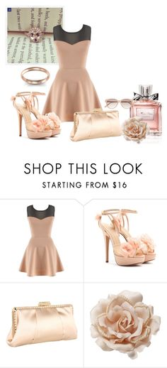 """Fancy in Peach and Rose Gold"" by debebians ❤ liked on Polyvore featuring Charlotte Olympia, Franchi, Christian Dior, Accessorize, Witchery, pink, evening, peach, floral and daytime"