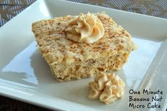 One Minute Banana Nut Microwave Cake Shared on https://www.facebook.com/LowCarbZen