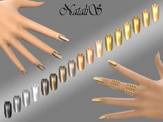 The Sims Resource: Mirrored metallic nails by NataliS • Sims 4 Downloads