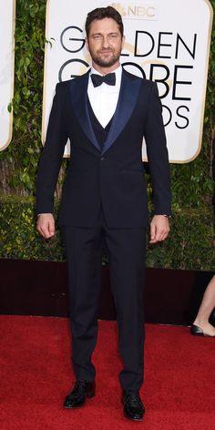 Gerard Butlerat the 2016 Golden Globes Red Carpet
