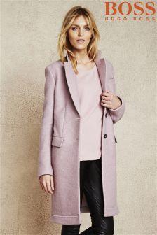 Womens Soft Grey Melange Shawl-collar Coat - Reiss Sila | My ...