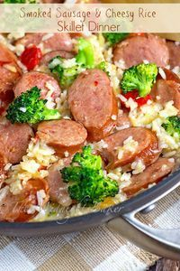 Smoked Sausage & Cheesy Rice | bakeatmidnite.com | #kielbasa #cheese #rice #recipe