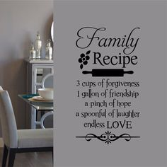 Vinyl Wall Lettering - Available in 3 sizes - Family Recipe Kitchen Decal Vinyl Flooring Kitchen, Kitchen Vinyl, Kitchen Wall Decals, Home Decor Kitchen, Kitchen Signs, Kitchen Ideas, Country Kitchen, Kitchen Mats, Kitchen Updates