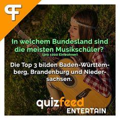 In welchem Bundesland sind die meisten Musikschüler? Die Top 3 bilden Baden-Württemberg, Brandenburg und Niedersachen. Ob die kommenden Stars der deutschen Musik auch aus diesen Bundesländern stammen werden?  Folge @quizfeed - 'Wissen clever verpackt!'
