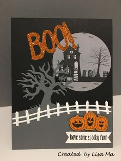 18 Pretty Paper Crafting Picks of the Week! (Mary Fish, Stampin' Pretty The Art of Simple & Pretty Cards) Halloween Scene, Halloween Items, Halloween Projects, Halloween Cards, Holidays Halloween, Halloween 2016, Fall Cards, Holiday Cards, Thanksgiving Cards