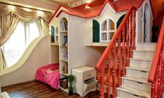 like the spindles on the bed. Playhouse Bed, Playhouses, Indoor Playhouse, Girls Playhouse, Playhouse Plans, Girls Bedroom, Twin Girl Bedrooms, Dream Bedroom, Dream Rooms