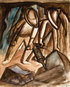 The Workers, David Alfaro Siqueiros. David Owsley Museum of Art Collection