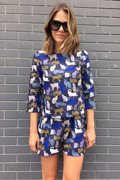 A cat-print romper? Yeah, that's definitely making the list. Autumn Winter Fashion, Spring Fashion, Fashion Show, Fashion Outfits, Lighter Hair, Gangnam Style, Fashion And Beauty Tips, Crop Top Bikini, Pretty Hairstyles