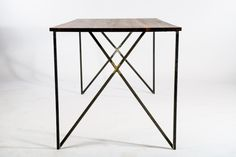 inside out dining table - reclaimed wood , industrial furniture , modern , made by hand