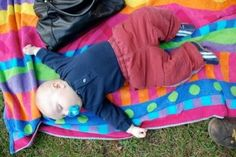 Declan as a baby, crashed out at a picnic in Prospect Park.