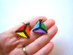 Black Rainbow Beaded Earrings // Glass Seed Bead by ElephantBeads